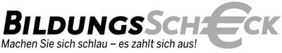 bildungsscheck mit slogan logo